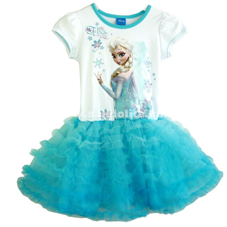Children\'s Disney Frozen Elsa Print Short Sleeve Princess Ball Gowns ...