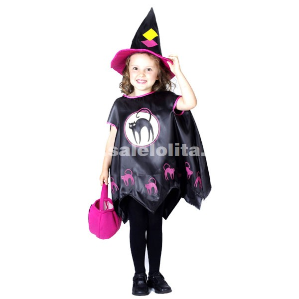 Kids Witch Dress,Witch Cloak,Halloween Small Witch Costumes