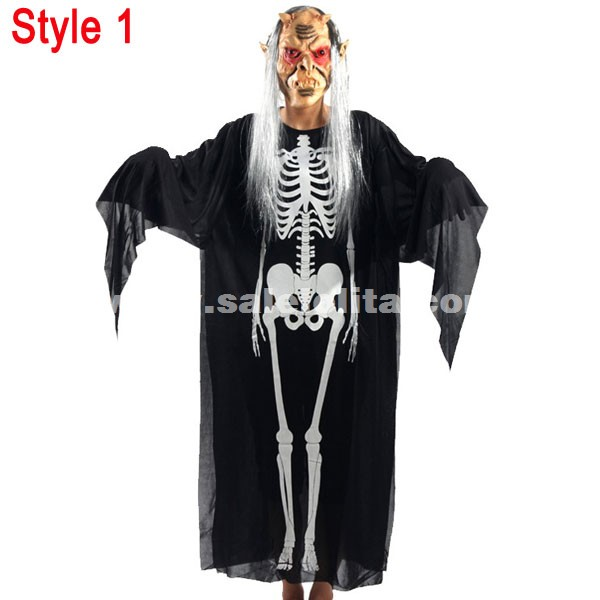 Child & Adult Masquerade Costume Halloween Costume Skeleton Ghost Clothes Include Horror Ghost Mask