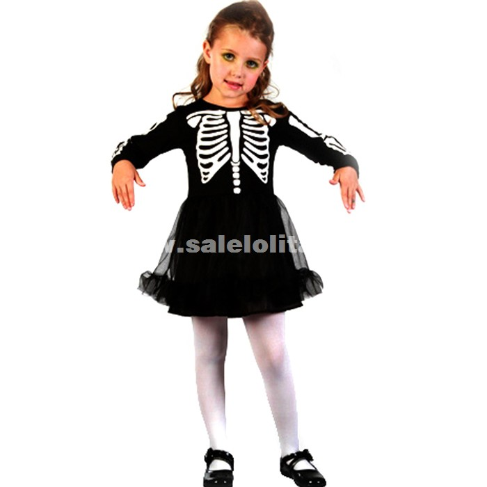 Cos Child Party clothes,Child Witch Dress Kids Skeleton Print Princess Dress