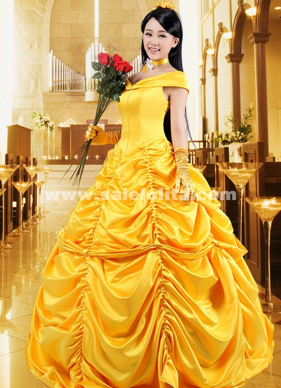 2015 Disney Cartoon Cosplay Bell Gowns Women Halloween Princess Costume Adult Belle Dress Princess Belle Costume For Adult