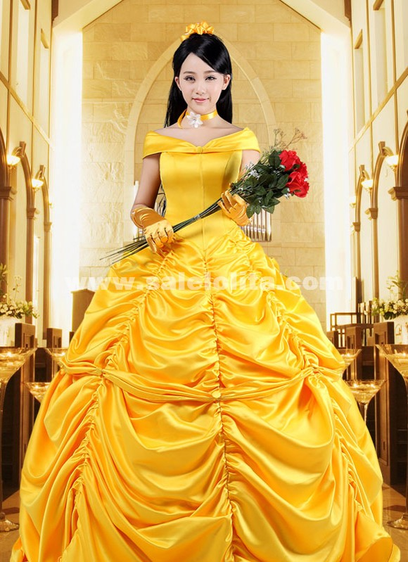 2015 Disney Cartoon Cosplay Bell Gowns Women Halloween Princess ...