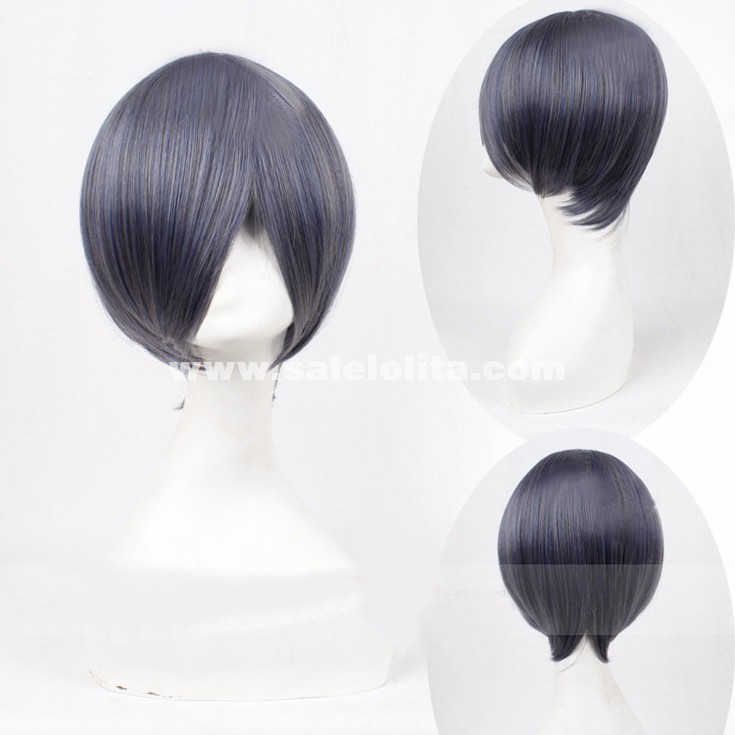 Cosplay Costume Wigs Black Butler Ciel Phantomhive Short Party Hair Black Gray