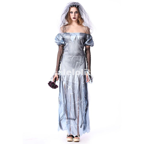 Halloween Costumes Scary Halloween Ghost Costume Blue Demon Zombies Bride Dress For Women