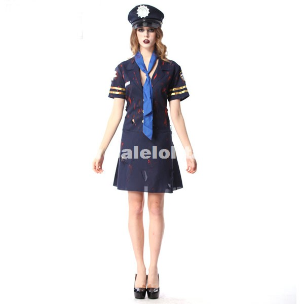 Halloween Party Cospaly Uniform Zombie Police Costumes For Women