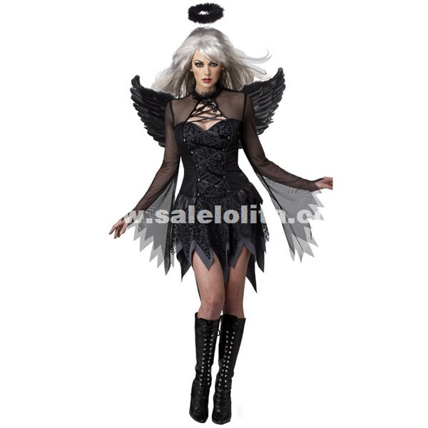 black vampire costume ghost bride uniform black angel costumes for halloween loading