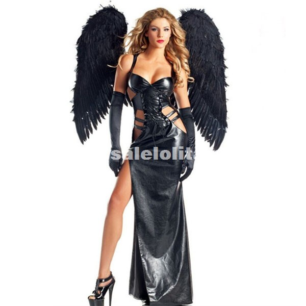 Black Patent Leather Halloween Costumes Black Angel Cosplay Dress