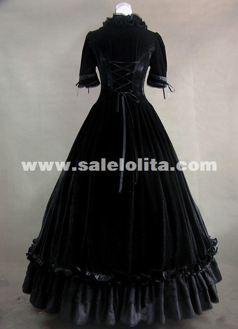 Vintage Black Short Sleeves Gothic Victorian Dress Halloween Prom Dress/Party Gowns For Women
