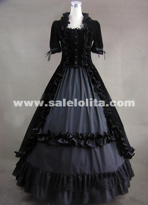 Vintage Black Short Sleeves Gothic Victorian Dress Halloween Prom ...