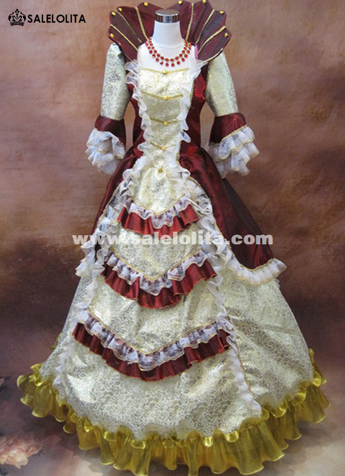 6 Color Medieval Dress Halloween Gowns Turtleneck Palace Marie Antoinette Dresses Costumes