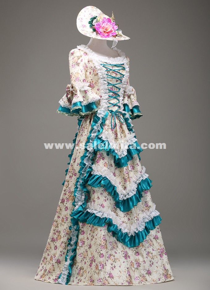 New Europe Women Palace Queen Floral Gowns Gothic Victorian Civil War Southern Belle Ball Gown Dress