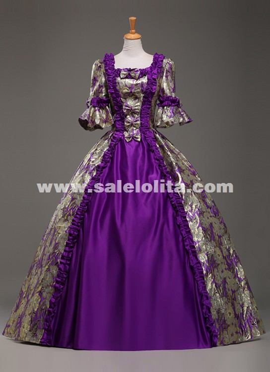 Custom High End Purple Jacquard Retro Palace Prom Dresses