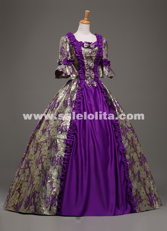 custom highend purple jacquard retro palace prom dresses