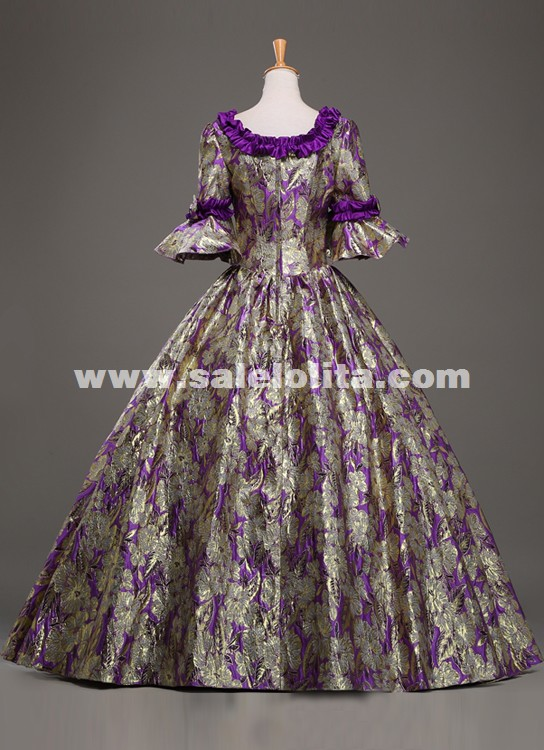 Custom High-end Purple Jacquard Retro Palace Prom Dresses Renaissance Southern Victorian Belle Marie Antoinette Ball Gowns Costume