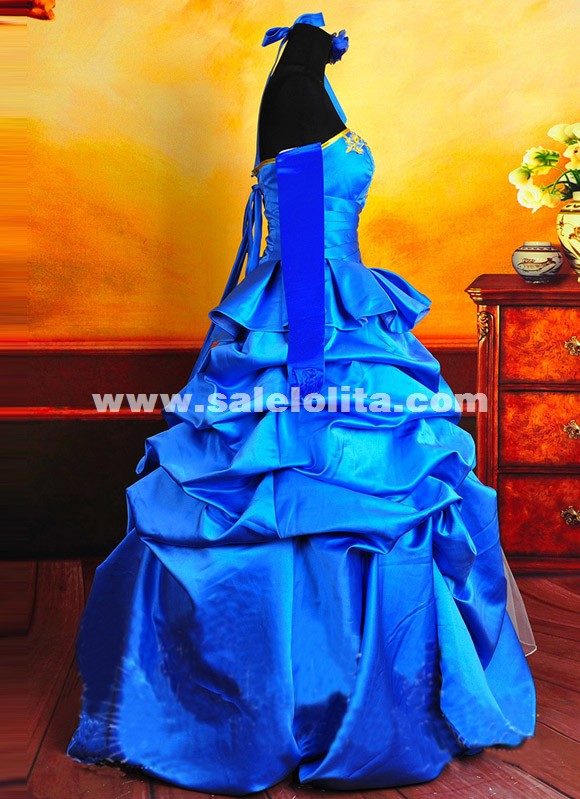 FATE/ZERO Anime Cosplay Dresses Blue Satins Saber Cosplay Costumes For Women