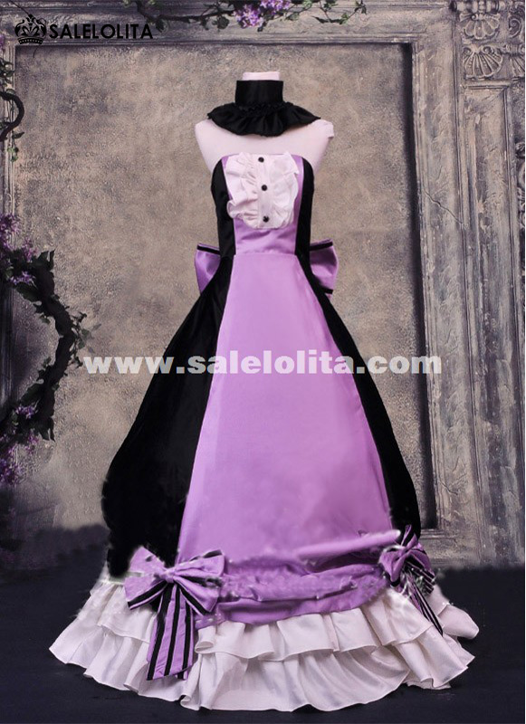 Purple And Black Vocaloid Cosplay Ball Gowns Japanese Anime Dresses