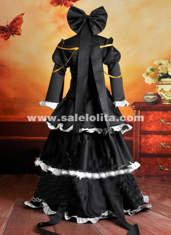 2015 Cheap Japanese Anime Vocaloid Cosplay Costume Black Vocaloid IMITATION Cosplay Dress For Women