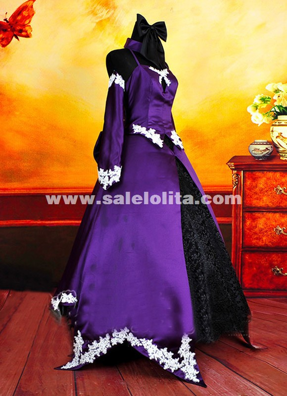 Brand New Anime FATE/ZERO Black Saber Cosplay Dresses Purple Cosplay Dress Costume For Women
