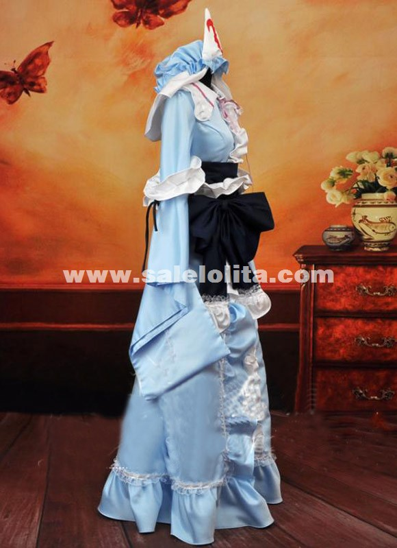 Anime Imperishable Night Cosplay Costume Saigyouji Yuyuko Cosplay Dress Japanes Kimono For Women