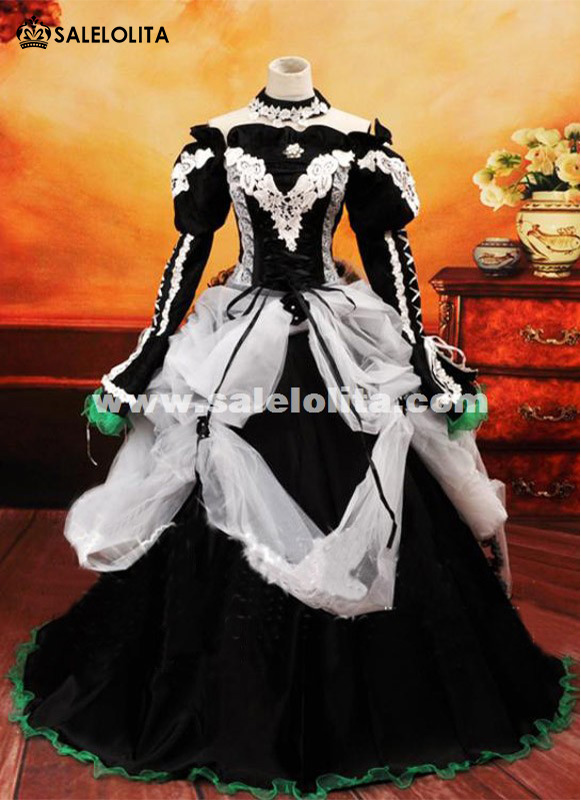 Anime Vocaloid MIKU Cosplay Dress Black Vintage Women Gothic Victorian Dress