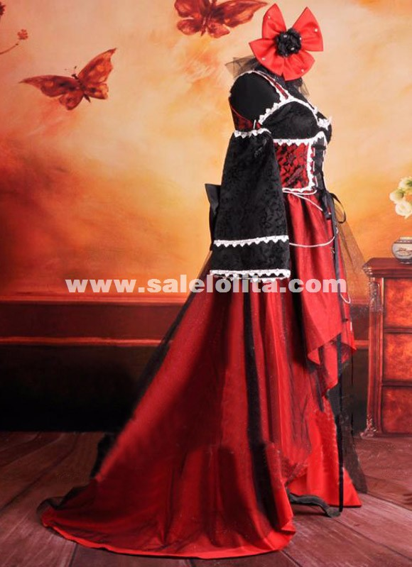 Red And Black Noble Palace Spaghetti Strap Gothic Lolita Dress For Women