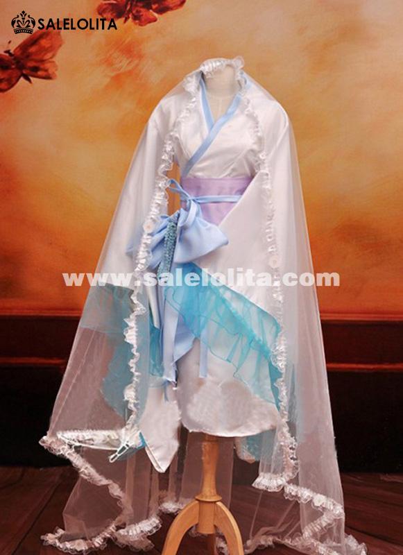 Anime fox fell ss cosplay costume yukinokouji nobara for Cheap wedding dress costume