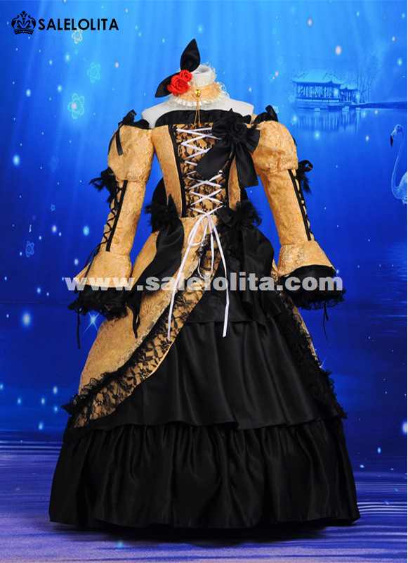 High Quality Anime Vocaloid Kagamine Rin Cosplay Dress Retro Palace Off the Shoulder Princess Belle Dress