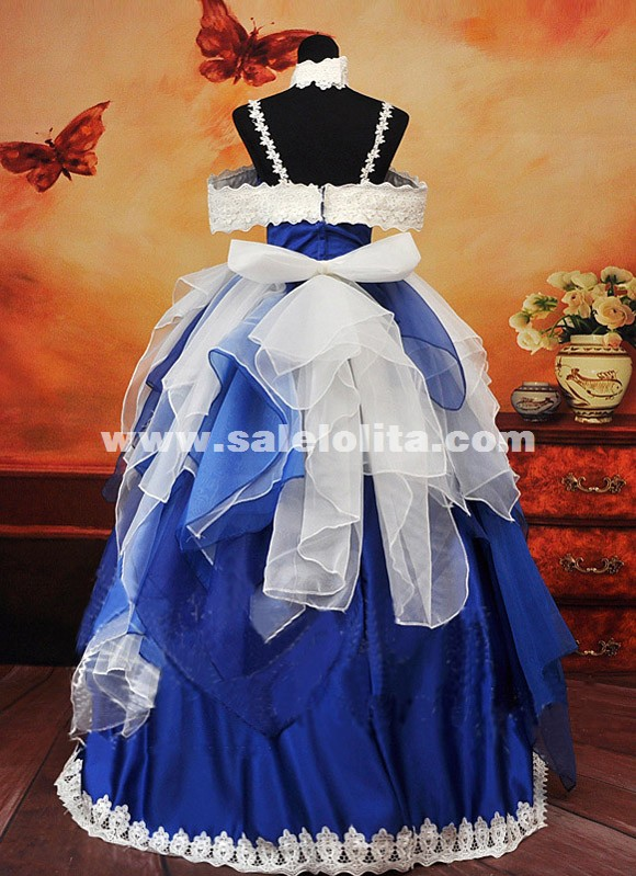 Noble Blue And White Spaghetti Strap Wedding Dress Anime Macross Frontier The Wings of Goodbye Cosplay Dress