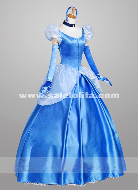 2019 New Blue Satins Cinderella Dress Adult Princess Cinderella Cosplay Dress