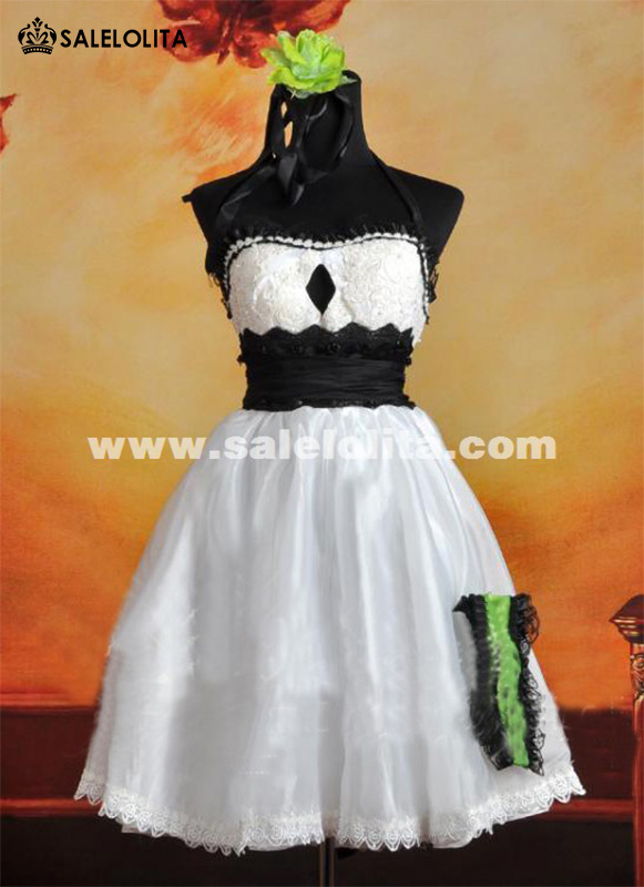 2015 New White GUMI Cosplay Lolita Dress Ladies Strapless Party Dress