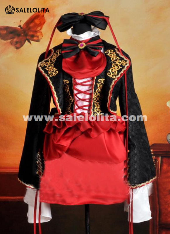 2015 New Red And Black Anime Vocaloid Cosplay Dress For Girl