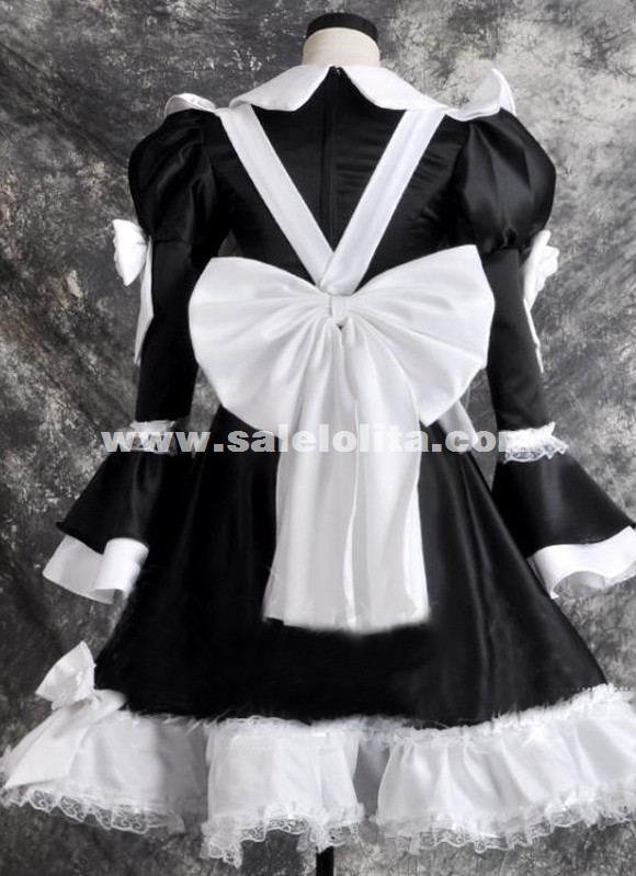 2015 Black And White Cotton Maid Cosplay Dress