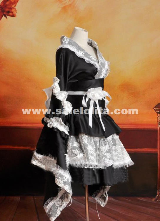 2015 High Quality Black And White Lace Lolita Kimono Ladies Maid Cosplay Dress