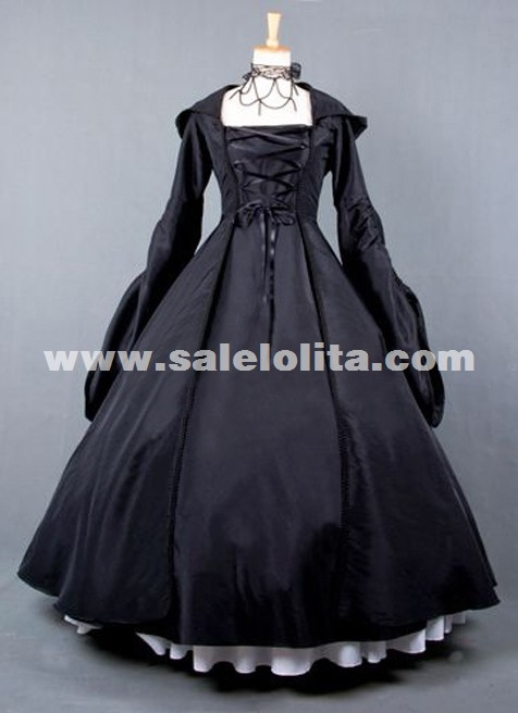 2019 New Black Retro Long Sleeve Gothic Victorian Dress Halloween Party Dress