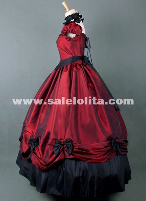 2019 Brand New Wine Red Vintage Victorian Ball Gown Floor Length Victorian Party Dress
