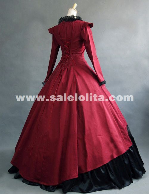 Red Gothic Victorian Steampunk Dress Reenactment Costume Theatre Clothing 2015