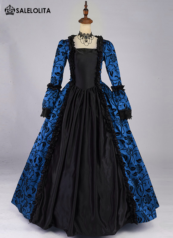 BIG DISCOUNT-LIMITED TIME!! Victorian Wedding Party Period Dress Blue Brocade Ball Gown Reenactment Clothing Theatre Costume