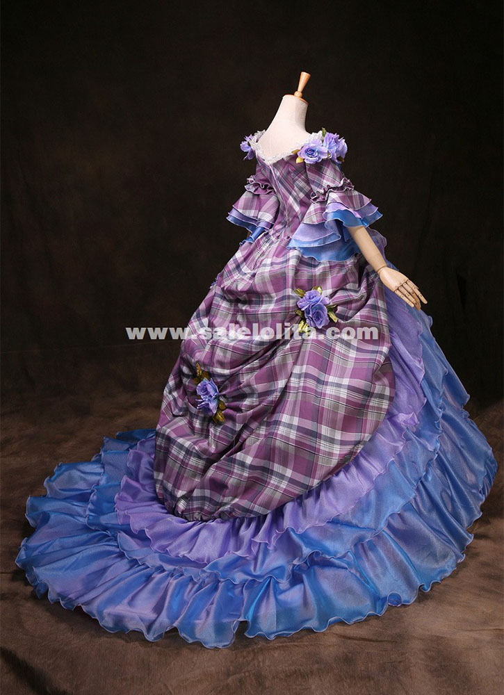 High-grade Customized Blue Marie Antoinette 18th Century Wedding Dress Medieval Renaissance Gowns Costume