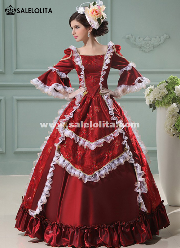 Marie Antoinette Dress Wine Red Floral Printing Renaissance Princess Dress European Court Period Costumes