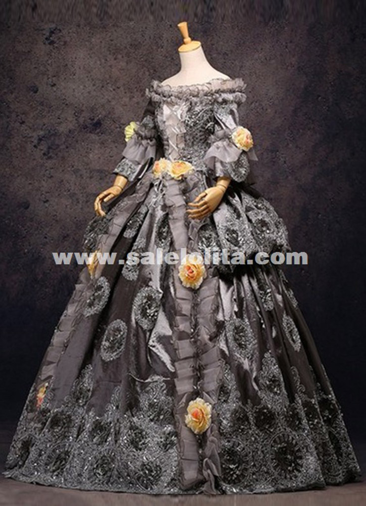 High-grade Vintage Gray Floral Marie Antoinette Renaissance Ball Gowns Historical Period Dress Carnival Halloween Stage Costume