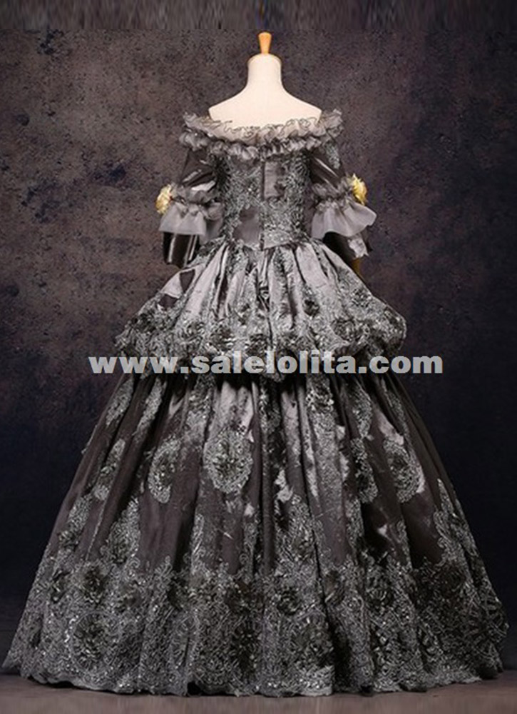 High Grade Vintage Gray Floral Marie Antoinette Renaissance Ball Gowns Historical Period Dress Carnival Halloween Stage Costume