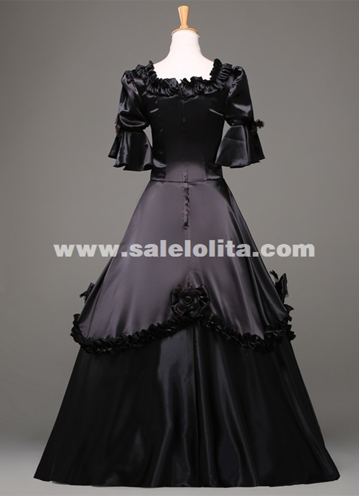 Black Vintage Gothic Rococo Ball Gown Adult Halloween Party Dresses For Women Baroque Colonial Masquerade Dress Costume