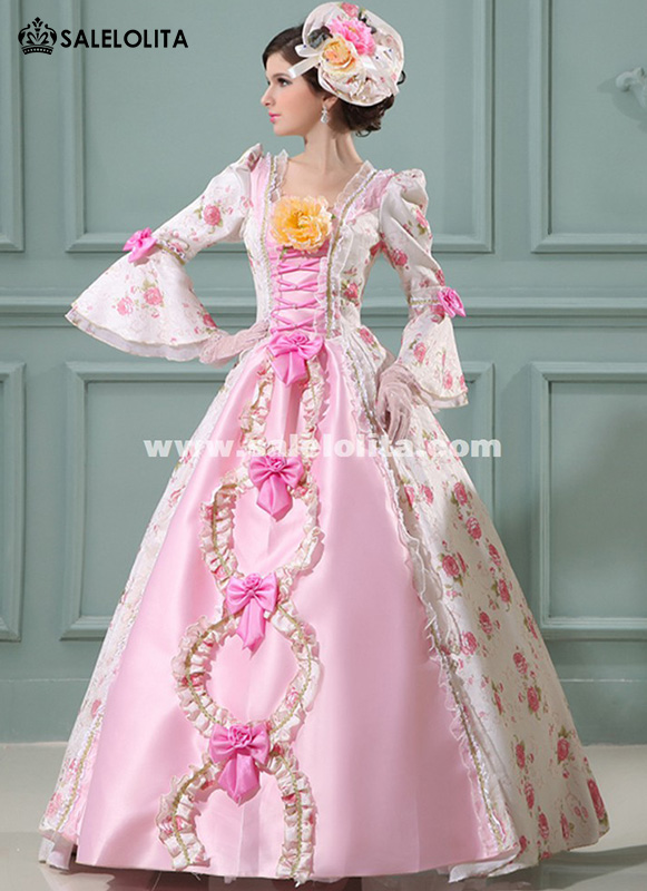Pink Baroque Rococo 17th 18th Century Marie Antoinette Floral Wedding Party Dress European Court Period Dress Costume
