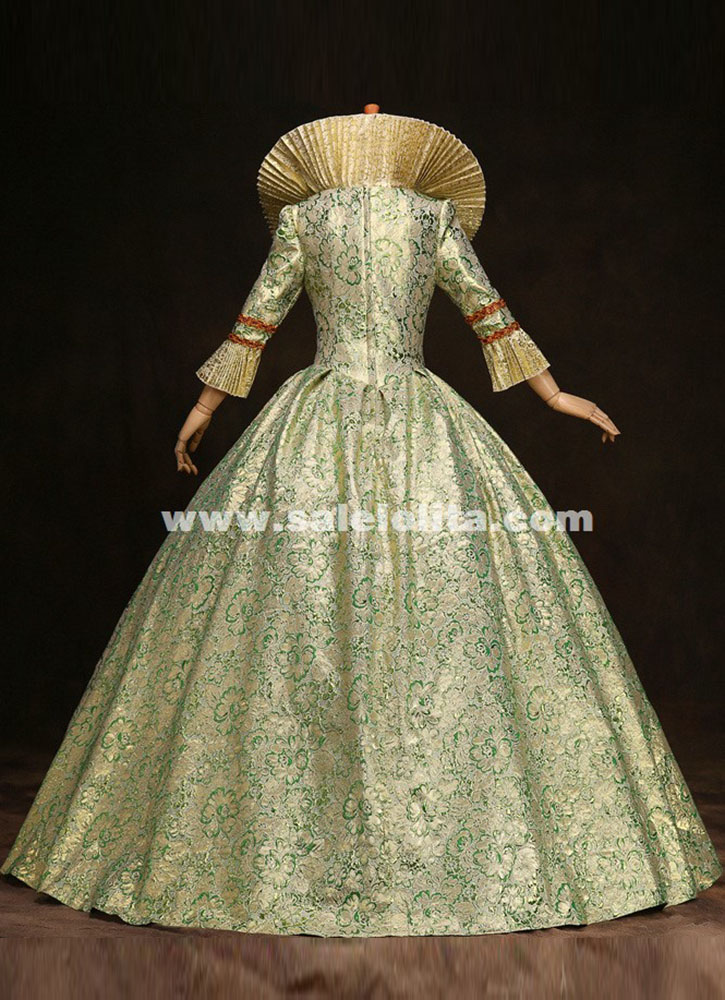 High Grade Green Print Marie Antoinette Dress 17th 18th