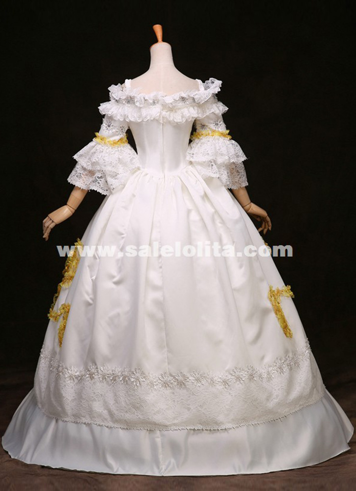 White Lace Marie Antoinette Dress 17th 18th Century Wedding Party ...