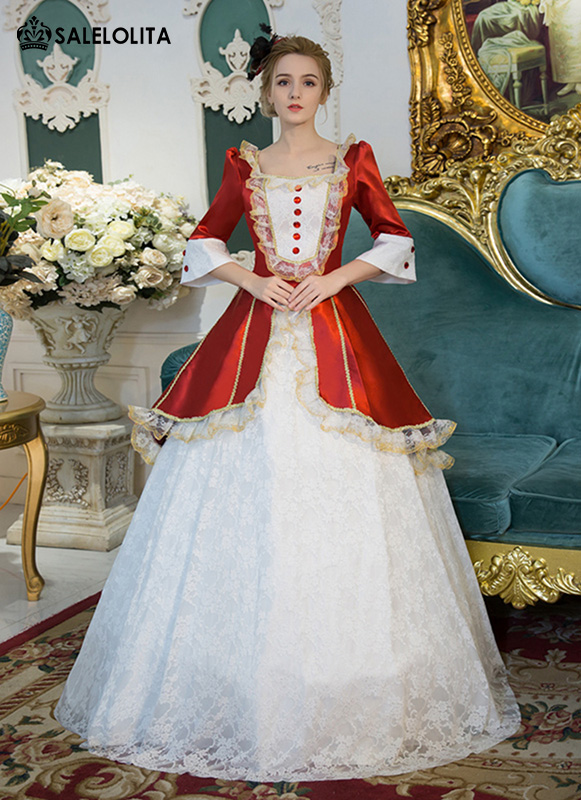 Red And White Lace Marie Antoinette Ball Gowns Women Halloween Party ...