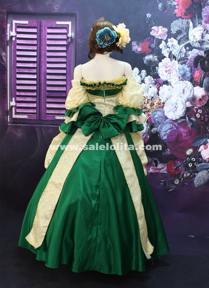 High-end Green/Red Print Off the Shoulder Marie Antoinette Dress 17th 18th Century Wedding Party Dress Rococo Dress