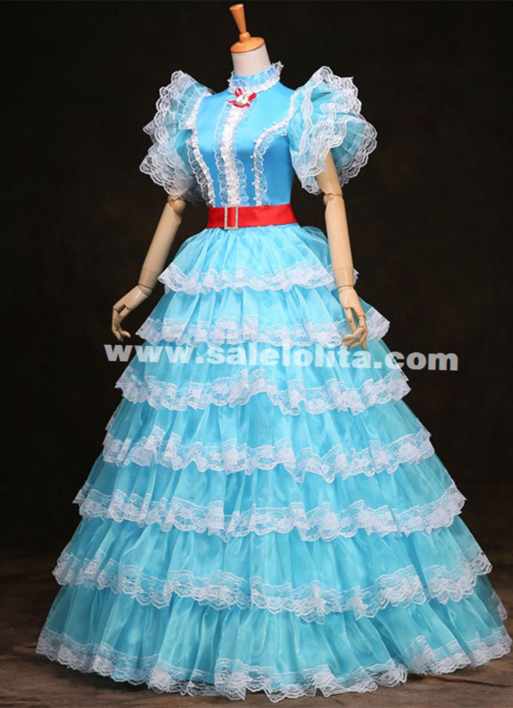 Blue White Multi Layer Rococo Baroque Marie Antoinette
