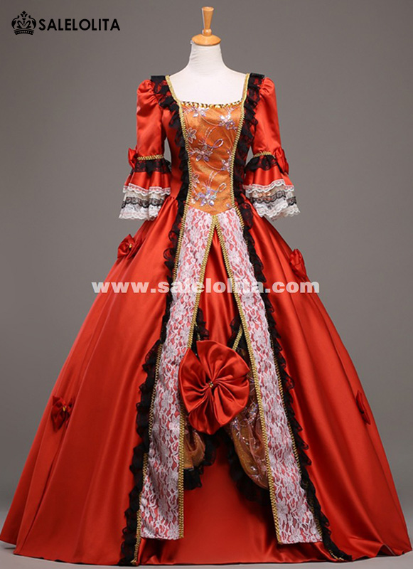 High Grade 18th Century Marie Antoinette Ball Gown Vintage Red Wedding Dress Theatre Clothing Long Party