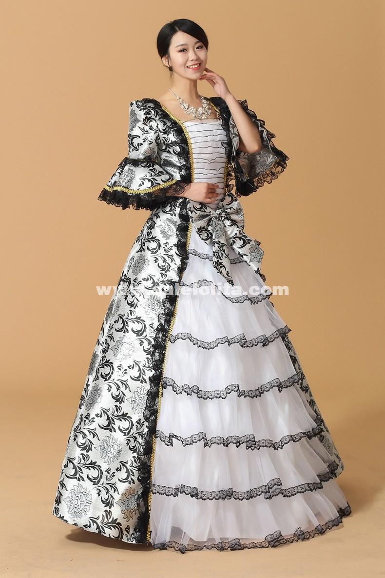 Black Floral 17th 18th Century European Court Marie Antoinette Dress Baroque Rococo Ball Gown